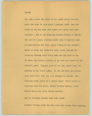 Primary view of object titled '[News Script: Clowns]'.