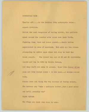 Primary view of object titled '[News Script: Motorcycle race]'.