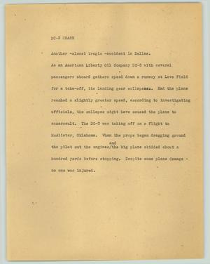 Primary view of object titled '[News Script: Crash]'.