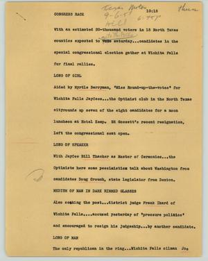 Primary view of object titled '[News Script: Congress race]'.