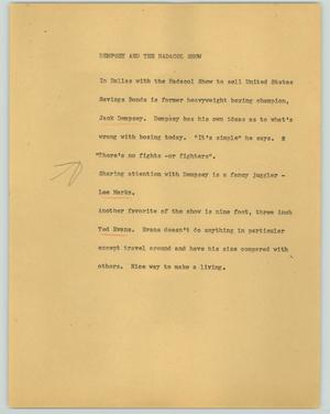 Primary view of object titled '[News Script: Dempsey and the Hadacol show]'.