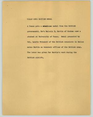 Primary view of object titled '[News Script: Texan gets British medal]'.