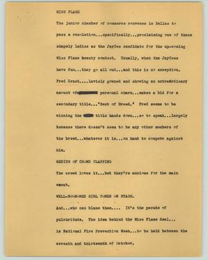 Primary view of object titled '[News Script: Miss Flame]'.