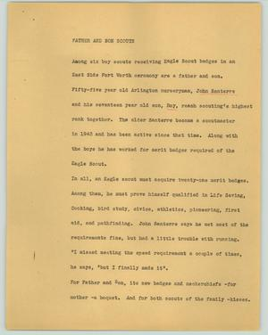 Primary view of object titled '[News Script: Father and son Scouts]'.