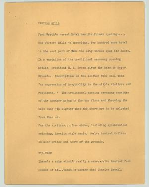 Primary view of object titled '[News Script: Western Hills]'.