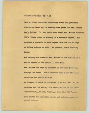 Primary view of object titled '[News Script: Seventy-five year old co-ed]'.