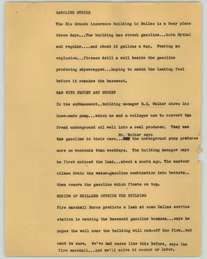 Primary view of object titled '[News Script: Gasoline strike]'.