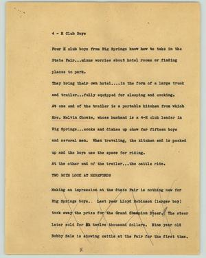 Primary view of object titled '[News Script: 4-H club boys]'.