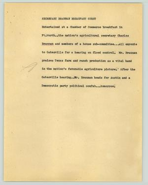 Primary view of object titled '[News Script: Secretary Brannan breakfast guest]'.