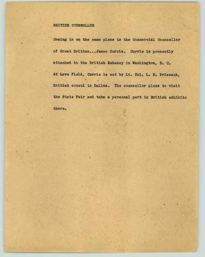 Primary view of object titled '[News Script: British counsellor]'.