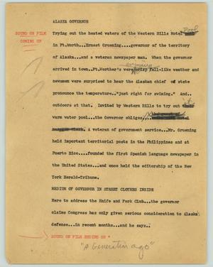 Primary view of object titled '[News Script: Alaska Governor]'.
