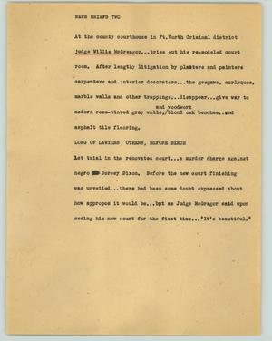 Primary view of object titled '[News Script: News briefs two]'.