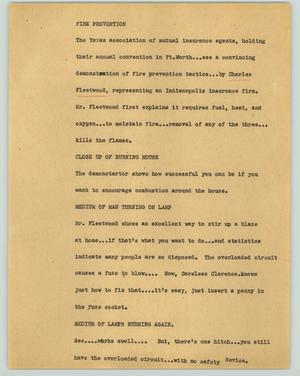Primary view of object titled '[News Script: Fire prevention]'.