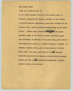 Primary view of object titled '[News Script: News briefs three]'.