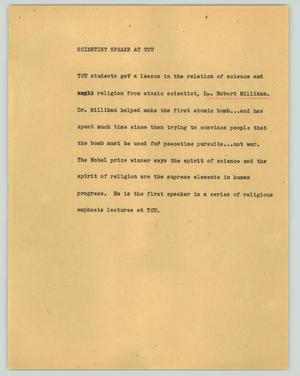 Primary view of object titled '[News Script: Scientist speaks at TCU]'.