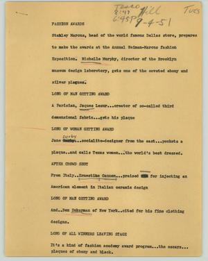 Primary view of object titled '[News Script: Fashion awards]'.