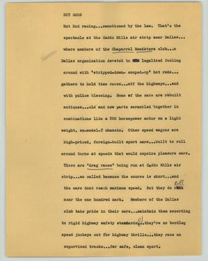 Primary view of object titled '[News Script: Hot rods]'.