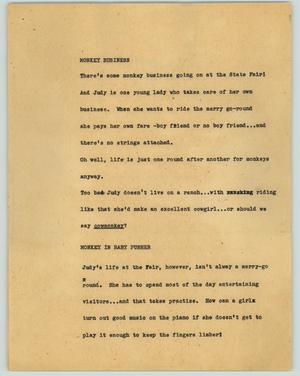 Primary view of object titled '[News Script: Monkey business]'.