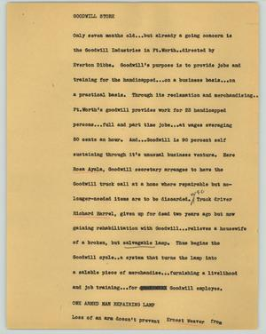 Primary view of object titled '[News Script: Goodwill store]'.