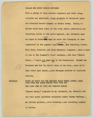Primary view of object titled '[News Script: Dallas men enter record business]'.