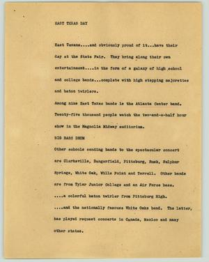 Primary view of object titled '[News Script: East Texas Day]'.