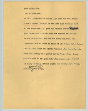 Primary view of object titled '[News Script: News briefs four]'.