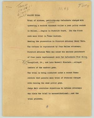 Primary view of object titled '[News Script: Policy trial]'.