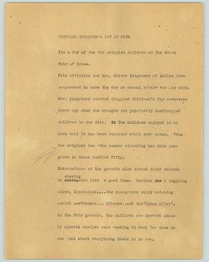 Primary view of object titled '[News Script: Crippled children's day at fair]'.