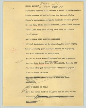 Primary view of object titled '[News Script: Flying farmers]'.