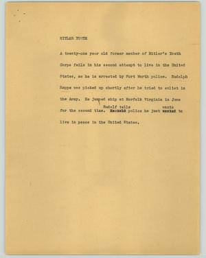 Primary view of object titled '[News Script: Hitler youth]'.