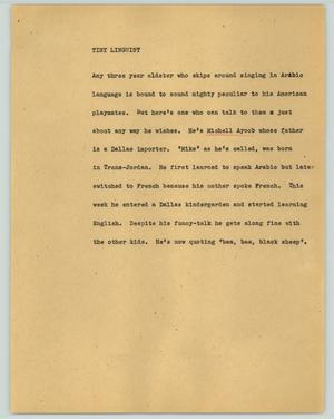 Primary view of object titled '[News Script: Tiny linguist]'.