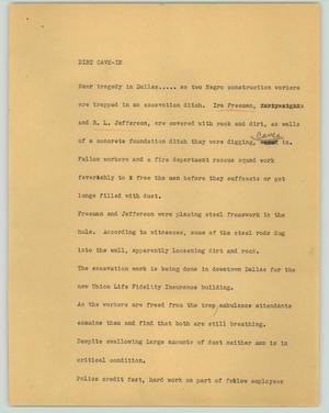 Primary view of object titled '[News Script: Dirt cave-in]'.