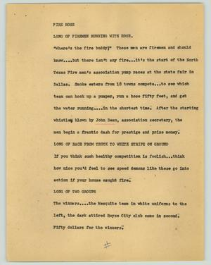 Primary view of object titled '[News Script: Fire hose]'.