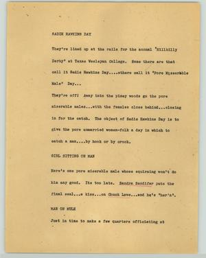 Primary view of object titled '[News Script: Sadie Hawkins day]'.