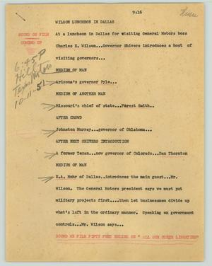 Primary view of object titled '[News Script: Wilson luncheon in Dallas]'.