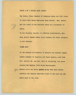 Primary view of object titled '[News Script: Bowie C of C honors Amon Carter]'.