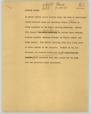 Primary view of object titled '[News Script: Housing survey]'.