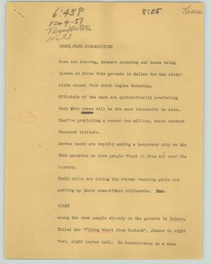 Primary view of object titled '[News Script: State Fair preparations]'.