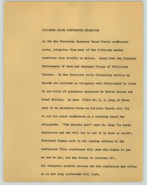 Primary view of object titled '[News Script: Japanese peace conference delegates]'.
