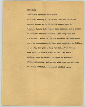 Primary view of object titled '[News Script: News brief]'.