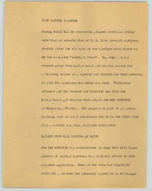 Primary view of object titled '[News Script: Navy carrier training]'.