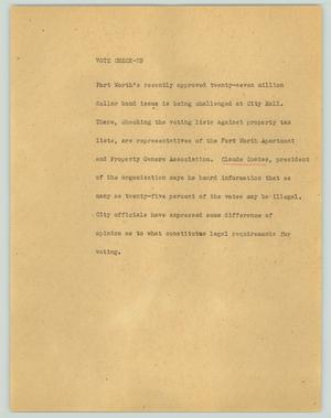 Primary view of object titled '[News Script: Vote check-up]'.