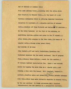 Primary view of object titled '[News Script: New TV network at Mineral Wells]'.