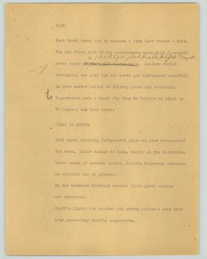Primary view of object titled '[News Script: Rain]'.