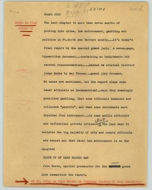 Primary view of object titled '[News Script: Grand jury]'.