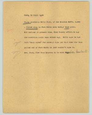 Primary view of object titled '[News Script: Costa in polio ward]'.