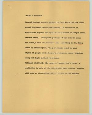 Primary view of object titled '[News Script: Cancer conference]'.