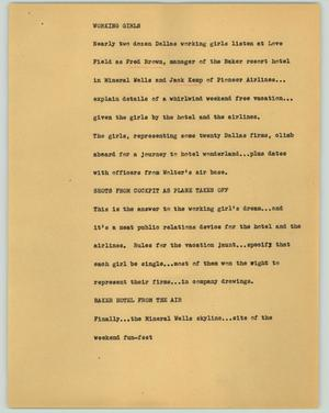 Primary view of object titled '[News Script: Working Girls]'.