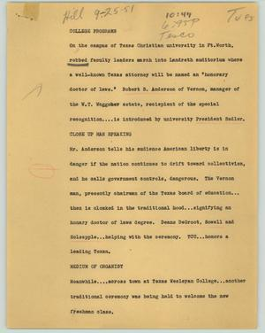 Primary view of object titled '[News Script: College programs]'.