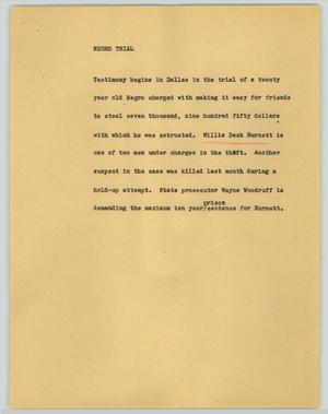 Primary view of object titled '[News Script: Negro trial]'.